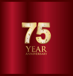 75 year anniversary gold with red background vector