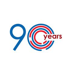 90 year anniversary logo template design vector