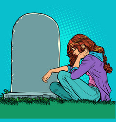 A sad widow or daughter near grave vector