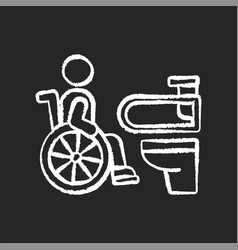 Accessible toilet chalk white icon on black vector