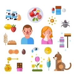 Allergy symbols and people disease information vector image