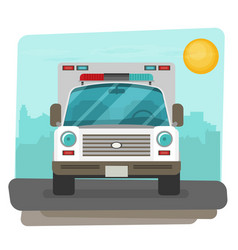 Ambulance car flat front view vector