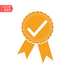 Approved or certified medal icon orange color vector