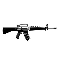 Assault rifle design element for logo label sign vector