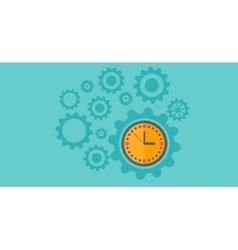 Background of cogwheels and clock mechanism vector image