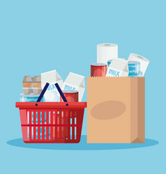 Basket and bag paper with groceries vector