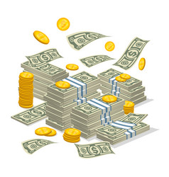 big money stack in cartoon style vector image