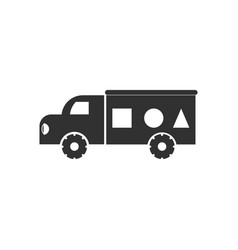 Black icon on white background kids truck vector