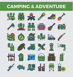 camping and outdoor adventure filled outline icons vector image