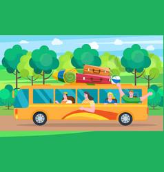 car summer trip happy people vector image