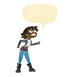 Cartoon angry biker girl with speech bubble vector