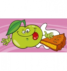 Cartoon apple and pie vector