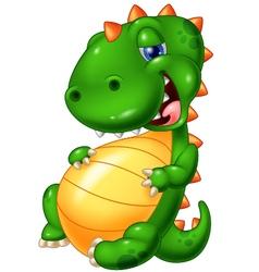 Cartoon smile dinosaur glut eating vector