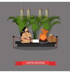 Cave people exposition vector