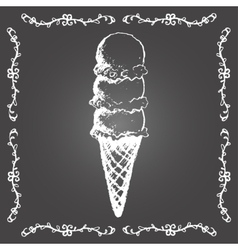 Chalk ice cream cone of three scoops in row vector image vector image