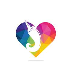 Chili and heart logo vector
