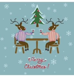 Christmas deer in sweater vector
