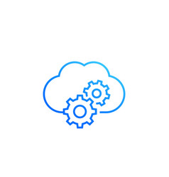 cloud service settings line icon on white vector image