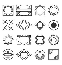 Collection of universal black geometric shapes vector