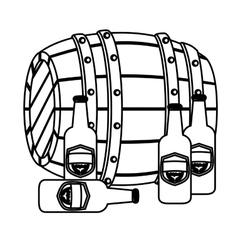 Contour wooden barrel with bottles of beer vector