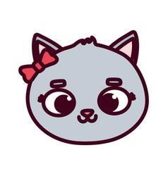 Cute animal cat face bow cartoon on white vector