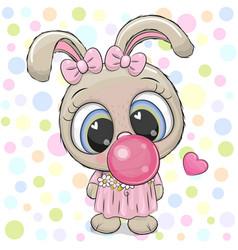 Cute cartoon rabbit with bubble gum vector