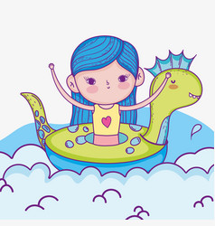 Cute girl in the dinosaur float and swimsuit vector
