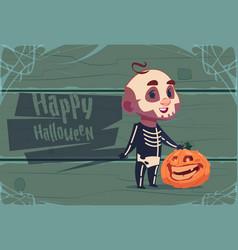 cute kid wear skull costume happy halloween vector image