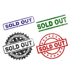 damaged textured sold out stamp seals vector image