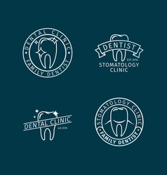 Dental clinic line logo templates vector