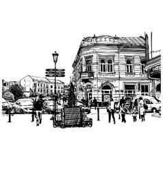 Digital sketch black and white of Uzhgorod vector