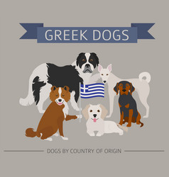 Dogs by country of origin greek dog breeds vector