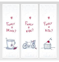 drink ride bite banners vert vector image