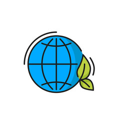 eco world planet blue globe and green leaf icon vector image