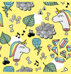 endless pattern with cute dead unicorns vector image