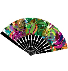 Fan with abstract drawing vector