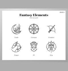 Fantasy icons line pack vector
