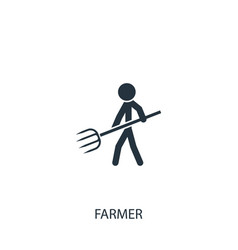 Farmer with pitchfork icon simple gardening vector
