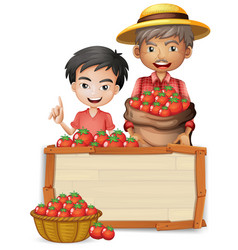 Farmer with tomato wooden banner vector