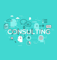 flat style thin line art design consulting vector image
