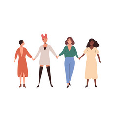 Four happy diverse young woman smiling holding vector