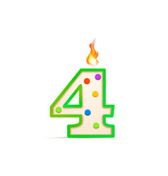 four years anniversary 4 number shaped birthday vector image