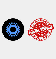 gear icon and scratched postal service vector image