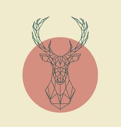 Geometric green head of deer wild animal vector