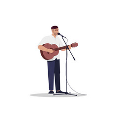 Guitarist with microphone stand semi flat rgb vector