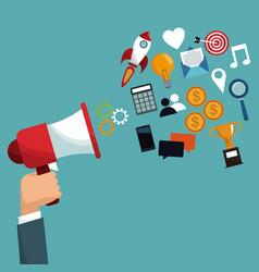 hand holding megaphone digital marketing vector image