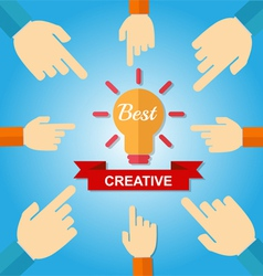 Hand point best creative vector