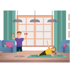 happy child doing morning fitness exercises home vector image