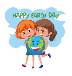 Happy earth day girls holding earth vector