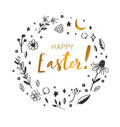 happy easter postcard handwritten vector image
